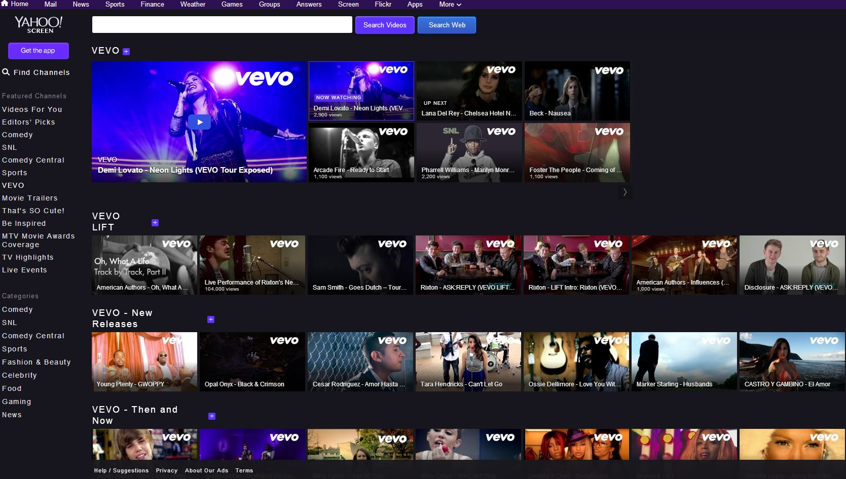 Vevo Yahoo Screen