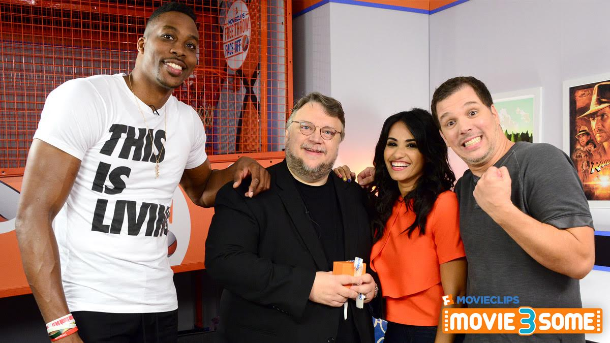 "Fandango Movieclips' ""Movie3Some"" hosts Kristian Harloff and Tiffany Smith with the first episode's guests, director Guillermo Del Toro and movie-mad NBA All Star Dwight Howard"